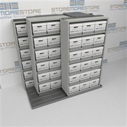 Rolling Record Box Sliders Three Deep Lateral Shelving Units Dead File Storage | SMST221BX-4P6