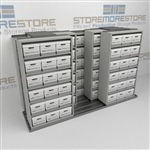 Record File Box Storage Shelving Three Rows Deep Moving Laterally on Tracks | SMST232BX-4P6