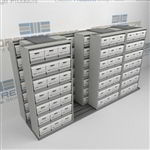High Capacity Record Box Racks on Tracks Storing Archival File Boxes Less Space | SMST243BX-4P7