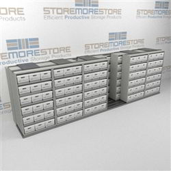 Record Box Shelving Units Rolling Sideways on Floor Tracks Storing Dead Files | SMST265BX-4P6
