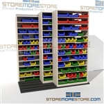 Compact Sliding Parts Bin Shelving