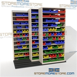 Sideways Moving Shelves for Small Part Bins
