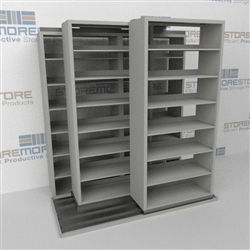 "Triple Deep (Four Post) Sliding Mobile File Shelving, 2/1/1 Legal-Size (6' 4"" W x 4' 1-1/2"" D x 6' 10-3/4"" H with 7 levels), #SMS-25-T621LG4P7"