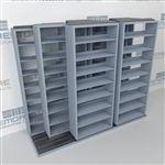 "Triple Deep (Four Post) Sliding Mobile File Shelving, 3/2/2 Legal-Size (9' 4"" W x 4' 1-1/2"" D x 7' 10-3/4"" H with 8 levels), #SMS-25-T632LG4P8"