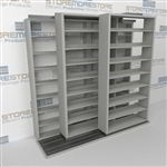 "Triple Deep (Four Post) Sliding Mobile File Shelving, 2/1/1 Legal-Size (8' 4"" W x 4' 1-1/2"" D x 7' 10-3/4"" H with 8 levels), #SMS-25-T821LG4P8"