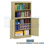 Bookcase Storage Cabinet Hinged Locking Doors Adjustable Shelves Tennsco BCD18-72