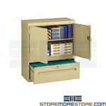 "Steel Office Cabinet with File Drawer Storage Doors 36""x18""x42"" Tennsco DWR-4218"