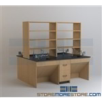 Lab Benches with Deck-Mounted Shelves Laboratory Counters with Storage