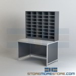 Mail Sorter Station Closed Table Sorting Bins Mailroom Furniture Shelves