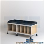 Mailroom Tables with Bottom Shelf Dividers on Wheels Mail Consoles