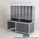 Modular Mailroom Furniture Sorters & Literature Cabinet Racks Cubbies