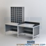 Mail Room Furniture Tables & Sorters Table with Back & Side Railing Stops