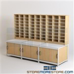 Mailroom Base Cabinets with Mail Sorting Organizers with Sliding Door Cabinets
