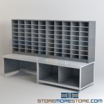 Sorting Tables with Adjustable Mail Cubby Slots Mailroom Furniture