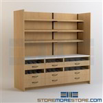 Pharmacy Upper Shelves with Drawer Cabinets Medical Dispensing Millwork Casework