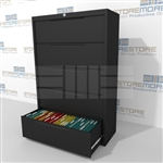 Heavy-duty 5 Drawer Lateral File Cabinet with anti-tipping feature to prevent more than one drawer to be opened at a time; shipped with a lock, supports Letter, Legal or A4 filing and comes in 5 standard colors.