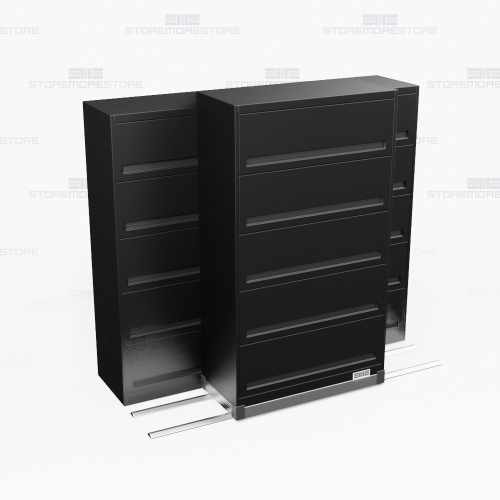 High Density 5 Tier Flipper Door Cabinet Rolling