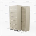 rolling High Capacity 6 tier end tab cabinet with flipper doors with Free Shipping, Stores end tab letter and legal files behind locked doors