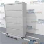 One sliding lateral filing cabinet on floor rails will expand your existing filing storage capacity without taking up extra floorspace
