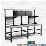 Industrial Work Tables Workbench Overhead Storage Cabinets Bench Mayline TW12