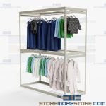 Storeroom Hanging Clothes Racks Wardrobe Retail Storage Shelving Two Levels High