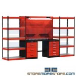 solution for the professional mechanic, industrial workbench, all steel means durability, all-welded cabinets, durable workbench, garage shelving, wooden work bench