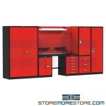 garage workbench, tool workbench, solution for the professional mechanic, modular utility workbench, small workbench, comes in stylish red and black