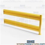 "Machine Safety Guard Railing 8' Wide 42"" High Forklift Warehouse Barriers Yellow"