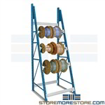 Adjustable Reel Spool Rack Designed to hold spools for cable, rope, chain, wire, tubing, hose on adjustable levels