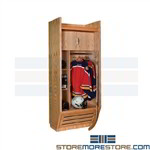 Wood Hockey Gear Lockers Hanging Uniform Helmet