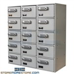 Hallowell UCTL392(30)-5A-E-PL minim compartment lockers for locking up wallets, purses, phones, and tablets. Each locker door is available with padlock hasp, key lock, or electronic digital keypad locks for secure storage.