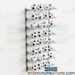 Racks Storing Volleyballs Mounted Wall Adjustable Storage Shelves Holds 32 Balls