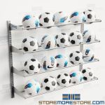 Wall Mounted Soccer Ball Racks Storage 20 Balls Adjusting Shelf Levels Volleyball