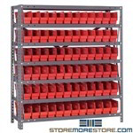 Counter High Bins Shelving 7 Steel Shelves Parts Storage Racks Quantum 1239-100
