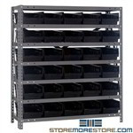 "Parts Bin Shelving 36x12x39 30 Storage Rack 6"" Wide Parts Bins Quantum 1239-102"