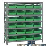 "Order Picking Shelving Plastic Bins 8""wx12""d Parts Racks Quantum 1239-107"
