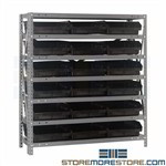 "18"" Deep Bin Waist-High Shelving Small Parts Storage System Quantum 1839-110"