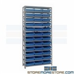 "18"" Deep Shelving Bins Storage Parts Racks 36wx18dx75h Quantum 1875-110"