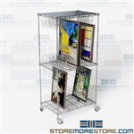 Mobile Art Storage Cart Rolling Wire Shelving Wire Framed Painting Rolling Rack