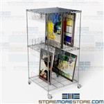 Rolling Artwork Shelving Cart Framed Painting Art Storage Wire Shelves on Wheels