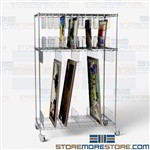 Art Storage Shelving Wheels Painting Artwork Cart Rolling Wire Shelf on Casters