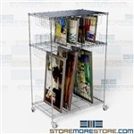 Painting Storage Shelving Wheels Adjustable Wire Racks Artwork Framed Art Cart