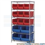 "Long Plastic Bin Racks Wire Storage Shelving Totes 30"" Long Plastic Containers"