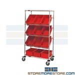 Wire Angled Shelf Rack Mobile Cart Rolling Slanted Shelving Quantum WRS-5-92080BL Blue