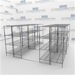 Wire Shelving on Floor Tracks Commercial Kitchen Storage Racks Conserve Space