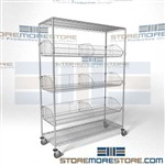 Quantum M2448BC6C basket racks on wheels with tilting portable chrome storage supply shelves and hopper bins kitchen use as onion and bread shelving or in schools as supply shelving in stores as retail shelving bins that can be split with dividers