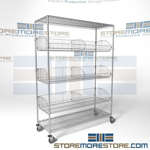 Basket Racks On Wheels Tilting Portable Chrome Storage