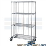 Mobile Wire Shelves Wheels Enclosed Sides