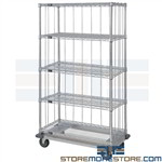 Enclosed Wire Shelving Cart Wheels Linens