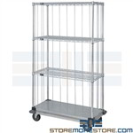 Medical Linen Carts Wire Rack Rolling Base